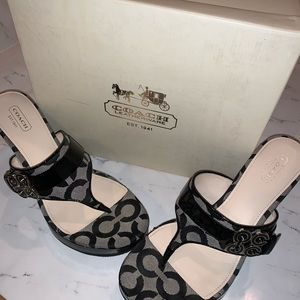 Coach logo Wedge Sandals Black Patent Leather